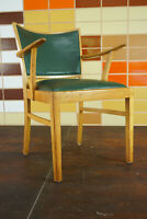 60er Vintage Stuhl Armlehnstuhl Schreibtisch Mid-Century Retro Holz grün 50er
