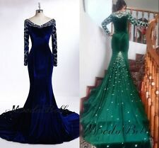 Custom Made Long Sleeve Evening Dress Emerald Green Mermaid Velvet Evening Gowns