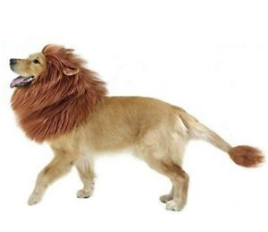 GABOSS Lion Mane Wig Costume for Dog/Large Pet with Ears & Tail - Brown