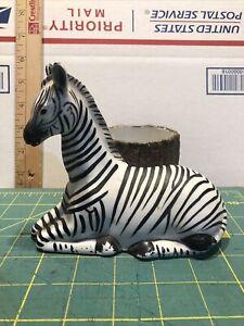 Vintage Porcelain Ceramic Zebra Planter 1999