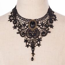 Black Lace Crystal Beads Victorian Style Gothic Collar Choker Necklace