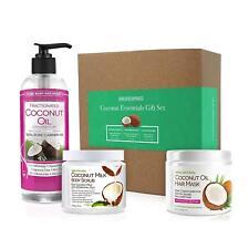 Coconut Spa Gift Set Moisturizing Hair Mask, Body Scrub & Hydrating Coconut Oil