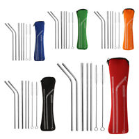 Stainless Steel Bend Straight Straw Metal Drinking Straws with Cleaning Tool
