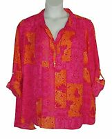 Investments Orange Pink Print SUMMER Tunic Top Womens Plus Size 3X