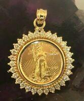 2020 - GOLD AMERICAN EAGLE - 14-KT GOLD - 1.17 - CARAT DIAMOND BEZEL - $1,348.88