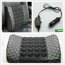 12V Car Seat Back Lumbar Waist Support Vibration Massage Cushion Pillow Leather