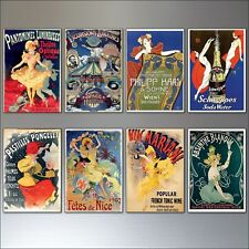 a Set of 8 Vintage French Art Nouveau Bohemian Poster Prints Fridge Magnets