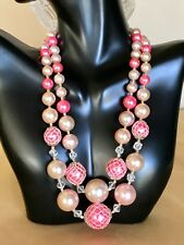 "15-18"" Vintage Signed Japan Pink & White Faux Pearl w/Netting 2-Strand Necklace"