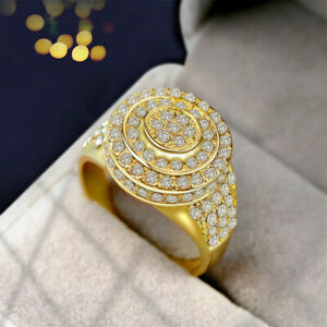 luxury 18k Gold Plated  Rings White Sapphire Weding Gifts Jewellery Sz 10