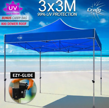Blue 3x3m Folding Gazebo Shade Tent Market Party Marquee Canopy PVC Pop Up Tents