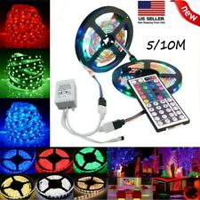 5M Flexible Strip Light 5050 RGB LED SMD Remote Fairy Lights Room TV Party Bar