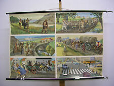 NICE Old School Wall Picture Road development time today 118x81 Vintage ~ 1960