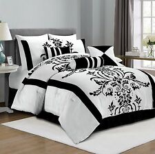 Queen Luxury Bedding Set 7 Piece White And Black Floral Comforter Bed In A Bag