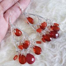 Beads Dangle Drop Hook Earrings Vintage Womens Silver-Tone Chandelier Red Clear