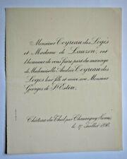 COYREAU DES LOGES Lauzon Saint Esteve FAIRE PART MARIAGE Chateau Theil 1886