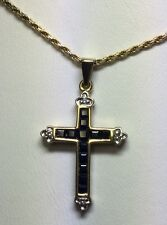 Beautiful Yellow Gold Diamond Sapphire Cross Pendant Charm W/ Tricolor Chain
