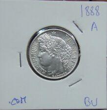 "391# PORTUGAL FRANKREICH - 1 FRANC / 200 REIS 1888 ""A"" SILBER KM#822.1  UNC"