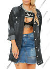 NEW Distressed Ripped Oversized Boyfriend Longline Denim Jacket Size 8 10 12 16