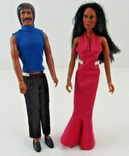 Sonny And Cher Mego 1976 Dolls With Clothes and Stands