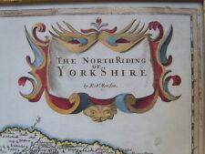Map, Robt Morden North Riding 1695 -1722 from Camden's Britannia Atlas, Framed >