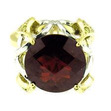 $4800  9.50 CT  2 TONE  GOLD ANTIQUE STYLE GARNET & YELLOW DIAMOND RING 18 KT