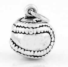 925 SILVER 12PC SOLID SOFTBALL 3D CHARM WHOLESALE