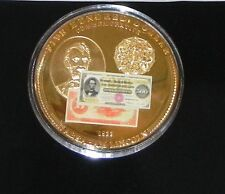 Commemorative Lincoln 24k Gold Layered piece With COA (54 Grams) Retail: $89.95