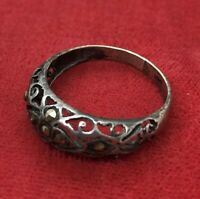 Vintage Sterling Silver Ring 925 Size 6.5 Deco Marcasite Band