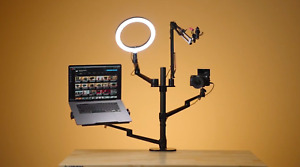 """Content Creator Desktop Live Stand Set 6-in-1 With 10"""" LED Ring Light"""