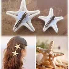 2 Pcs Girls Beach Lady Starfish Hair Clip Star Sea Hairpin Jewelry