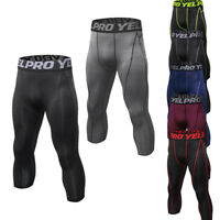 Men's Compression 3/4 Tights Dri fit Athletic Gym Base Layers Dri fit Quick-dry