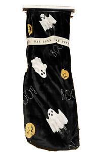 """Rae Dunn BOO Halloween Black Plush Throw with Ghosts & Pumpkins 50x70"""" NWT"""