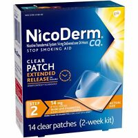 NicoDerm CQ Clear Nicotine Patch 14 milligram (Step 2) Stop Smoking Aid 14 count