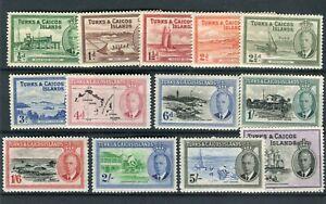 Turks & Caicos KGVI 1950 set of 13 SG221/33 MLH