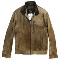 Remy Men's Jacket Beige Suede Brown Leather Collar Soft Coat Zip Pockets Size 42