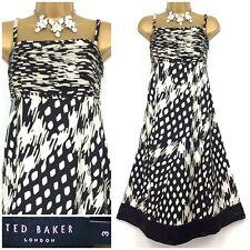 Ladies Ted Baker *Zoar* Black/Beige Silk Empire Flare Dress Size 8-10 RRP £150