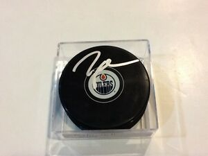 Taylor Hall Signed Edmonton Oilers Hockey Puck Autographed a