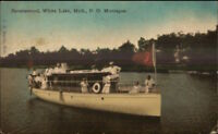 Ravenswood White Lake Montague MI Small Steamer Boat Catherine W c1910 PC
