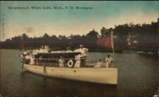 Ravenswood White Lake Montague MI Small Steamer Boat Catherine W c1910 PC