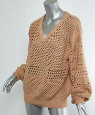 CHLOE Womens Nude Sheer Textured V-Neck Chunky-Knit Long-Sleeve Sweater Top M