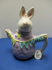Blue Sky Heather Goldminc Bunny Happy Spring Teapot New