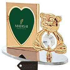 24k Gold Plated Teddy Bear Picture Frame Made with Genuine Matashi Crystal