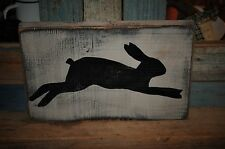 Old Look Primitive Hand Painted Rabbit Wooden Sign/Wall Hanging Simple Folk Art