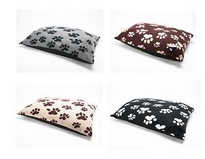 Soft Fleece Paw Design Large Dog Beds Warm Pet Washable Zipped Mattress Cushion