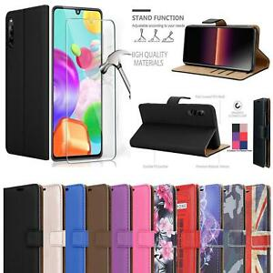 For Sony Xperia L4, Slim Leather Wallet Phone Case Cover + Screen Tempered Glass