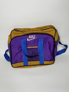 Vintage 80's Or 90's Nike Duffel Bag - Purple/Khaki Tan/ Blue - Mead Branded