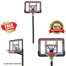 "Adjustable 44"" Shatterproof In-Ground Basketball Hoop Backboard Outdoor Sport"