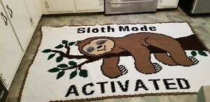 """HANDMADE CROCHETED SLOTH MODE ACTIVATED/SLOTH AFGHAN/45"""" X 75"""""""