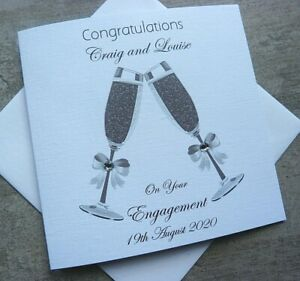 Handmade Personalised Congratulations Engagement Card Champagne