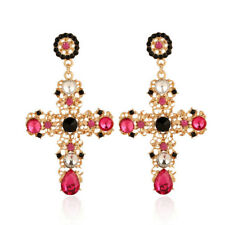 Vintage Baroque Style Crystal Luxury Gold Cross Large Long Dangle Earrings Women